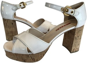 893bca77637 Prada Patent Leather Cork Heel Cork Platform Wrap Toe Strap Ankle Strap  Cream Sandals