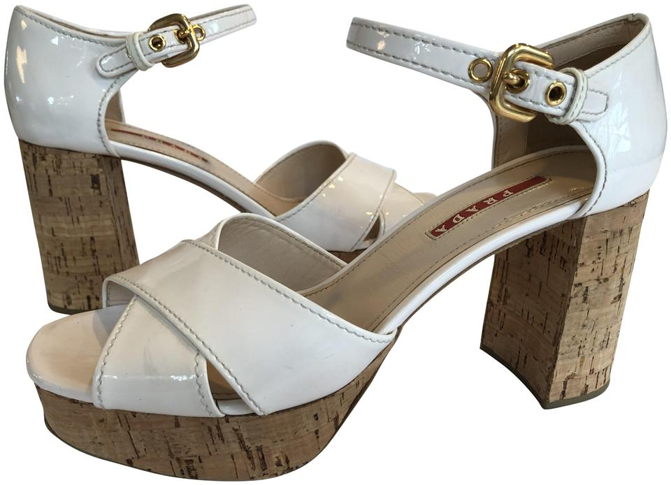 f90c495a976 Prada Cream Platform Patent Leather and Cork Sandals Size EU 40 ...