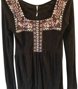 Free People Eyelet Embroidered Top Black