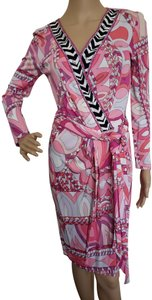 Emilio Pucci Sundress Belted Monogram Floral Longsleeve Dress
