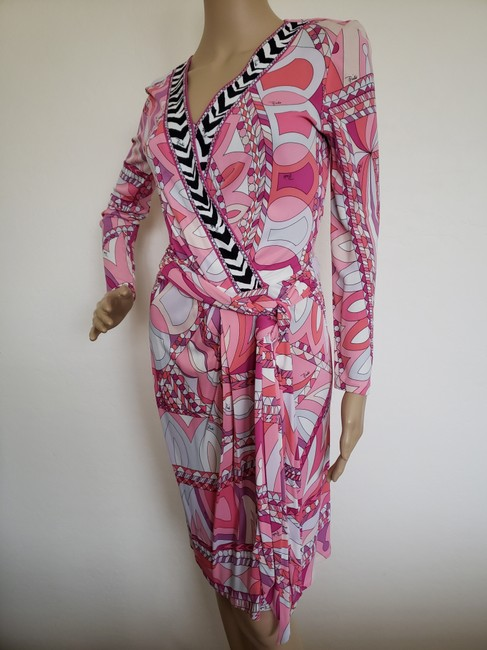 Emilio Pucci Sundress Belted Monogram Floral Longsleeve Dress Image 1