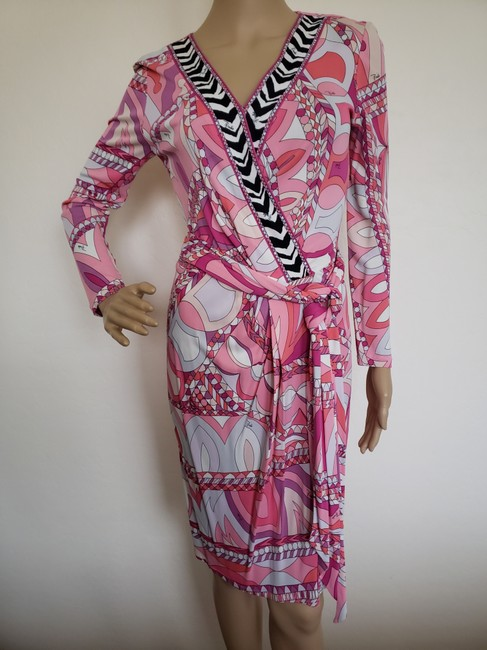 Emilio Pucci Sundress Belted Monogram Floral Longsleeve Dress Image 3