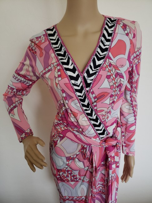 Emilio Pucci Sundress Belted Monogram Floral Longsleeve Dress Image 4