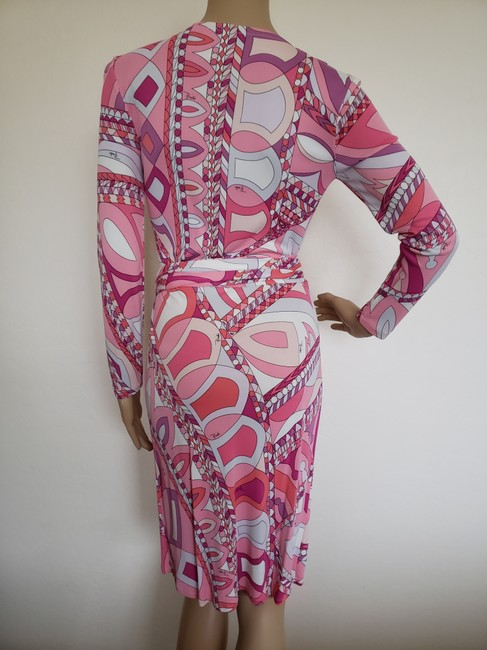 Emilio Pucci Sundress Belted Monogram Floral Longsleeve Dress Image 8