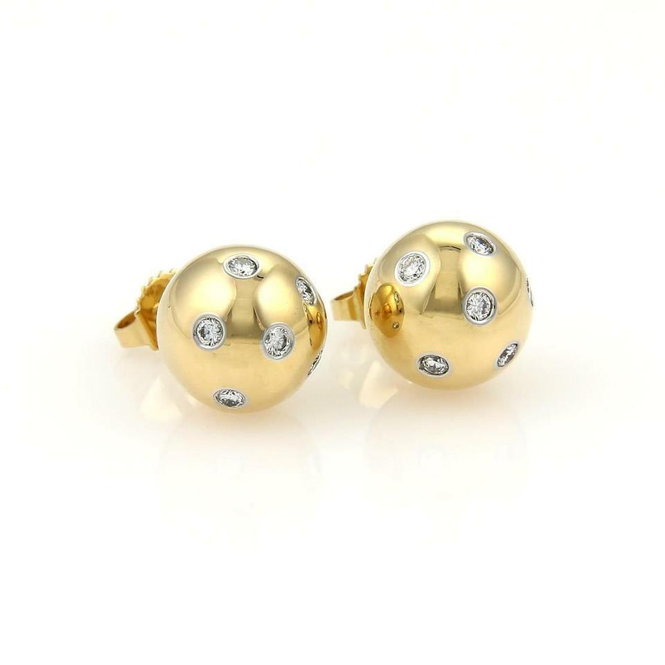9306f07af0b5 Tiffany   Co. Etoile Diamond Platinum 18k Gold 10.5mm Ball Stud Earrings  Image 0 ...