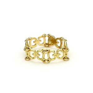 Gucci 18k Yellow Gold All Around G Logo Flex Link Band Ring