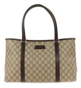 b4a77919154 Added to Shopping Bag. Gucci Tote in Brown. Gucci Gg Supreme Joy Brown  Coated Canvas Tote