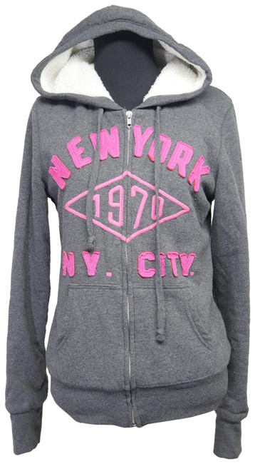 Item - Grey La New York City Embroidered Jacket Activewear Outerwear Size 12 (L)