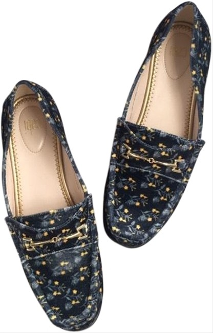 Item - Navy Yellow Velvet Floral Carnaby Loafers Flats Size US 9 Regular (M, B)