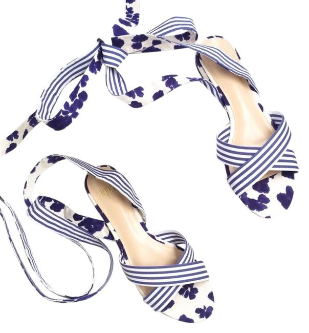 Item - Navy White Tie Up Sandals Size US 8 Regular (M, B)