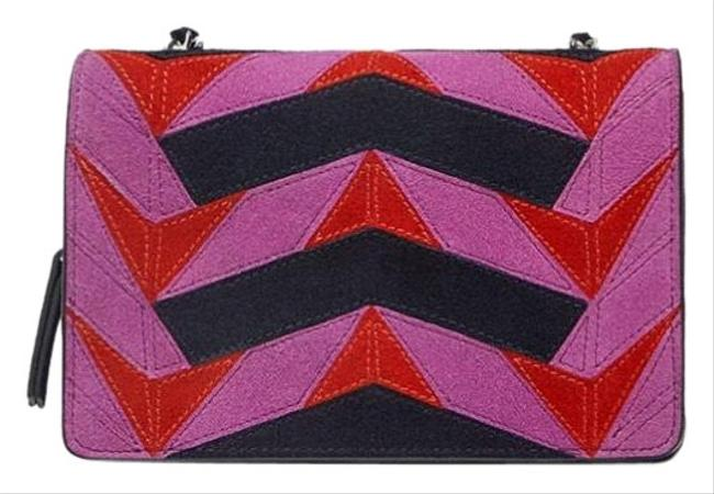 Item - New Contrasting Split Leather Fuchsia Black Cross Body Bag