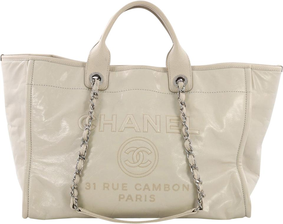 161d712ebd3f Chanel Deauville Chain Glazed Large Cream Calfskin Leather Tote ...
