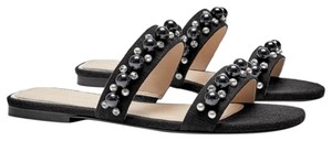 93996f1ce65 Zara Black New Flat with Pearl Straps Sandals Size US 6.5 Regular (M ...