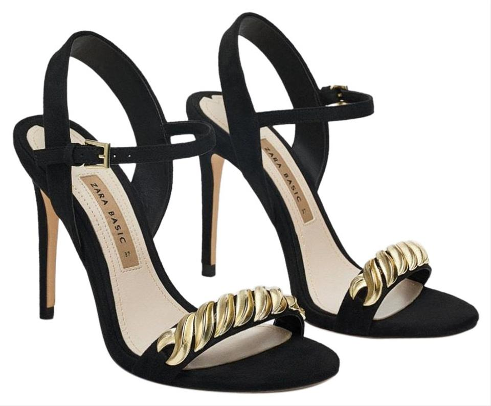 55940d4942 Zara Black Gold New High Heeled with Chain Sandals Size US 6.5 ...
