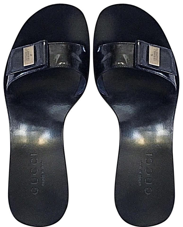 1472786631ab Gucci Black Pattern Leather Mules Slides Size EU 35 (Approx. US 5 ...