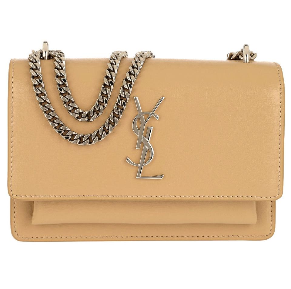 09682c12172 Saint Laurent Monogram Sunset Chain Wallet Ysl Small Calfskin Beige (Nude)  Lizard Skin Leather Cross Body Bag
