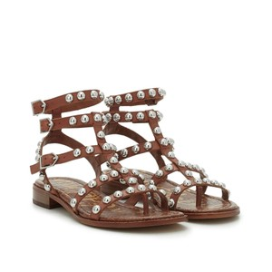 Sam Edelman Gladiator Studded Thong Ankle Strap Brown Sandals