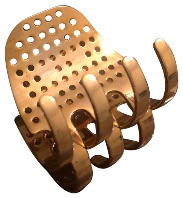 Item - Gold Metal Perforated Clipper Hair Accessory