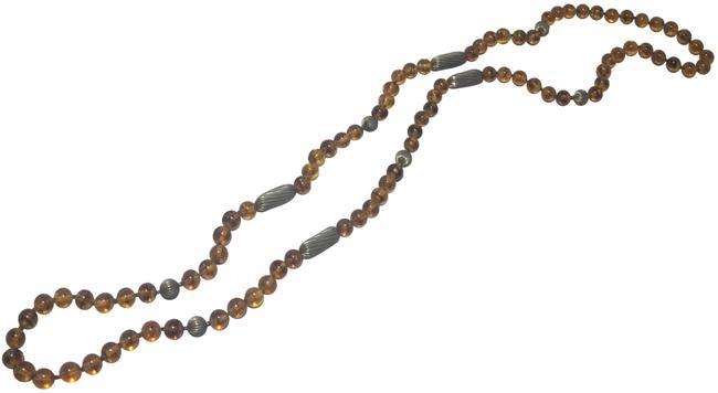 Item - Brown & Silver Beaded Long Necklace