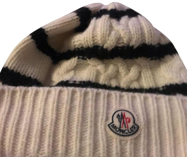 Item - Ivory and Black Striped Cabel Knit Beanie Hat