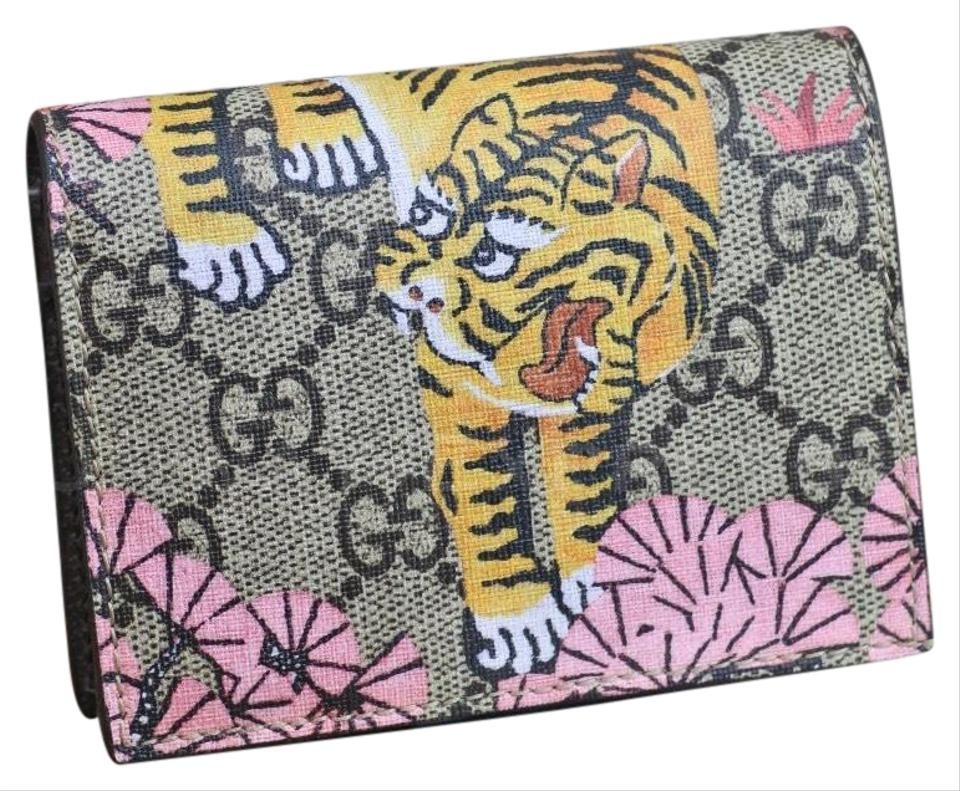 brand new 64498 958d4 Gucci Brown Pink Bengal Card Case Wallet