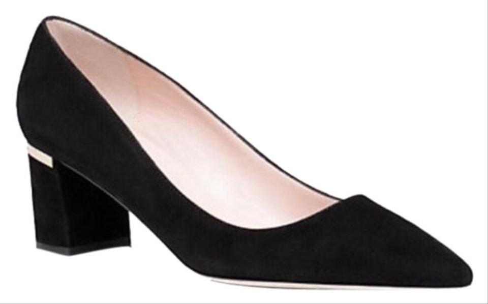 703b13477f90 Kate Spade Pointed Chunky Heel Golden Accent Black suede Pumps Image 0 ...