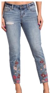 Celebrity Pink Distressed Embroidered Stretch Boho Skinny Jeans-Distressed