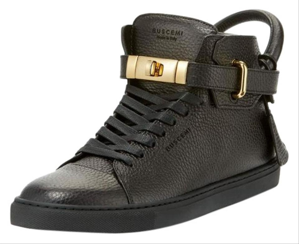 c1e935f0331 Buscemi Black 100mm High-top Leather Sneakers with Padlock Sneakers ...