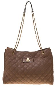 Marc Jacobs Leather Quilted Tote in Beige