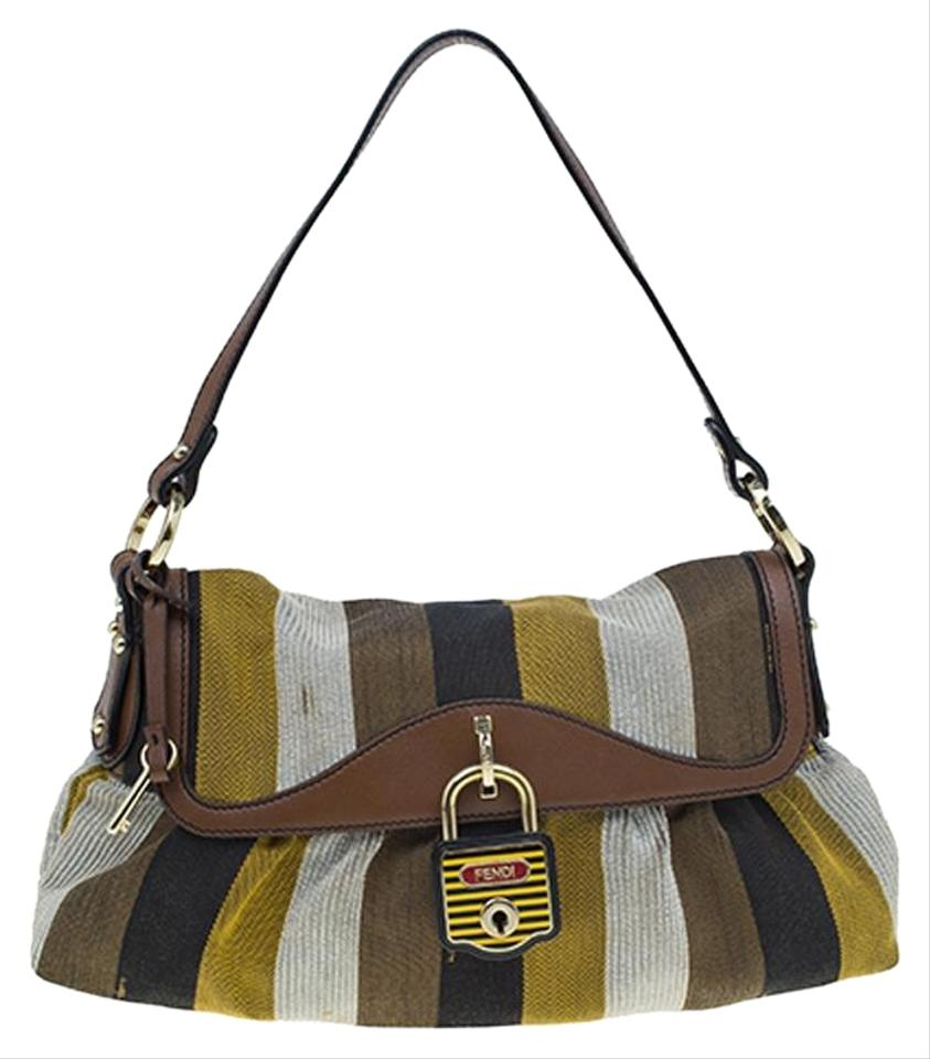 4a9b2ce0fe Fendi Striped Limited Edition Chef Flap Multicolor Canvas Shoulder ...