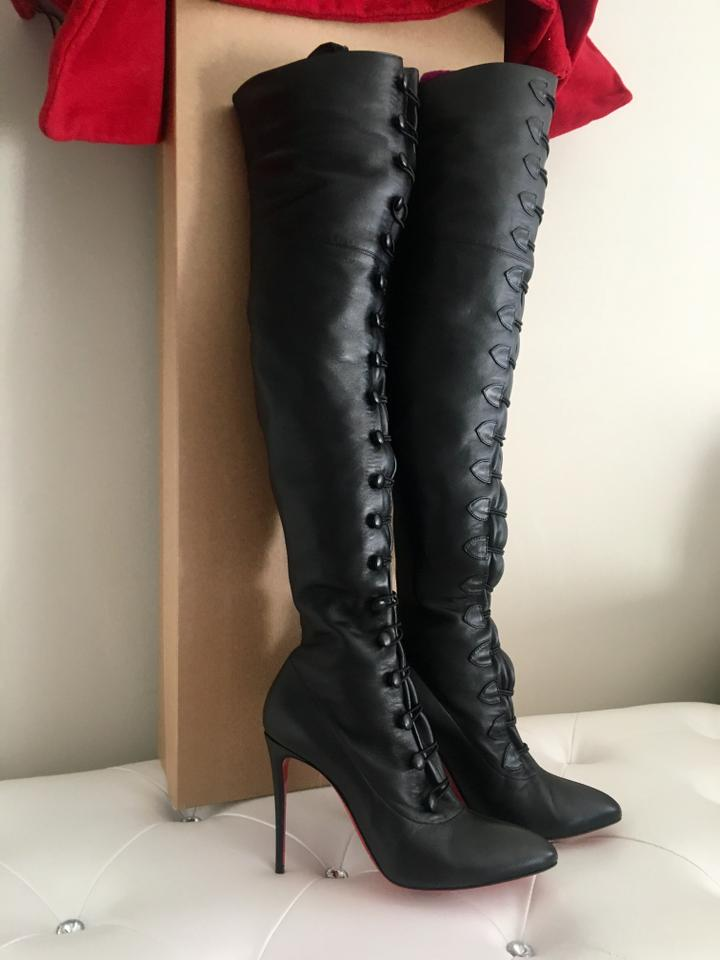 85476154c46e Christian Louboutin Black French Tutu Alta 100 Leather Boots Booties Size  EU 38 (Approx. US 8) Regular (M