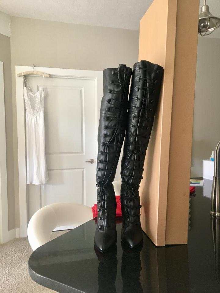 1bf2aca59908 Christian Louboutin Black French Tutu Alta 100 Leather Boots Booties ...