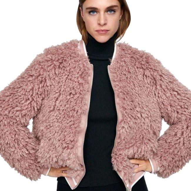 Item - Pink Faux Fur Zip Bomber Small Jacket Size 4 (S)