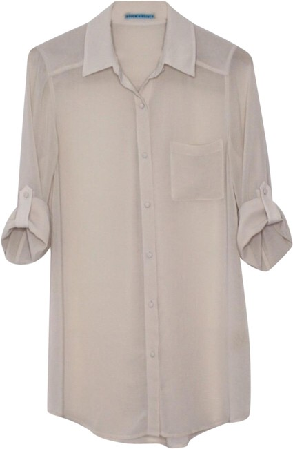 Item - Nude Beige Sheer Tunic Button Front Button-down Top Size 10 (M)