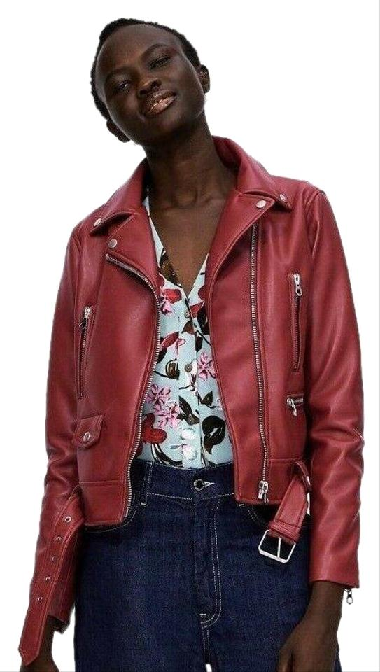 b447c9daca23 Zara Red New Moto Biker Faux Leather Jacket Size 8 (M) - Tradesy