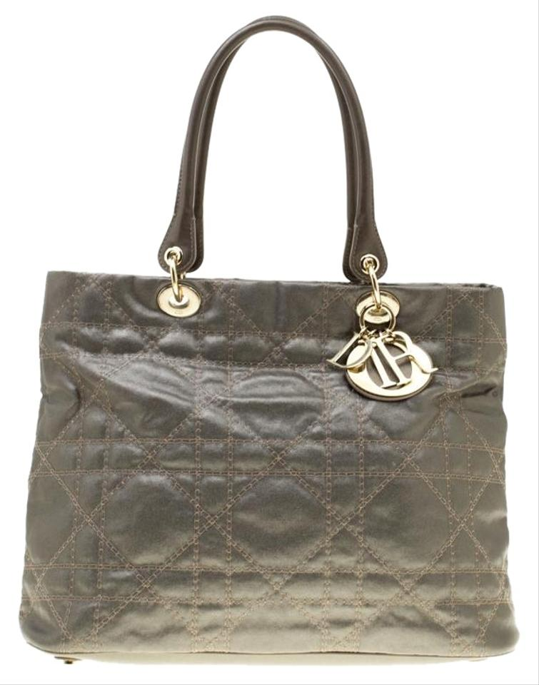 370d7b1b3f78 Dior Lady Dior Metallic Cannage Soft Grey Coated Canvas Tote - Tradesy