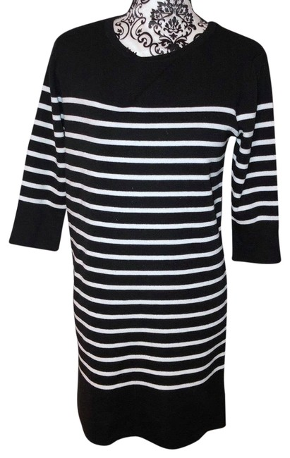Item - Small Black White Striped Sweater Short Casual Dress Size 4 (S)