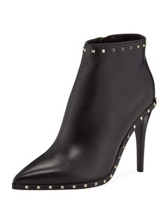 Valentino Leather Ankle Rockstud Soul Black Boots