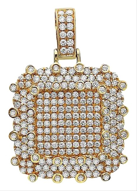 Item - 14k Yellow Gold Double Square Women's Pendant with 3.00ct Diamonds