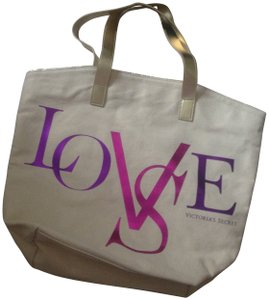 Victoria's Secret Tote in ivory to gold