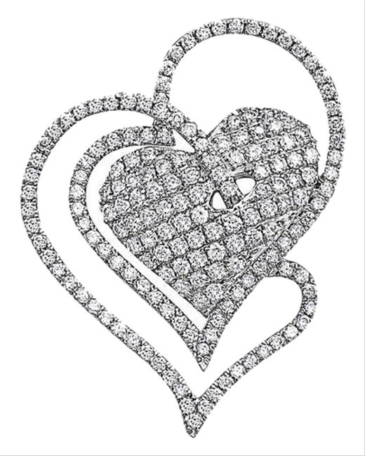 Item - 14k White Gold Intertwined Hearts Women's Pendant with 1.31ct Diamonds