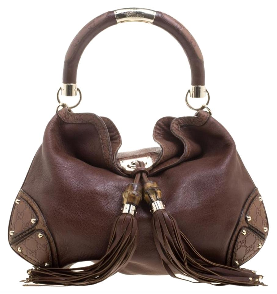 db914a417eb Gucci Indy Medium Babouska Top Handle Brown Leather Shoulder Bag ...