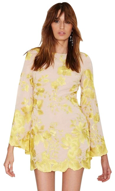 Item - Yellow Paige Metallic Floral Embroidered Chiffon Short Cocktail Dress Size 2 (XS)