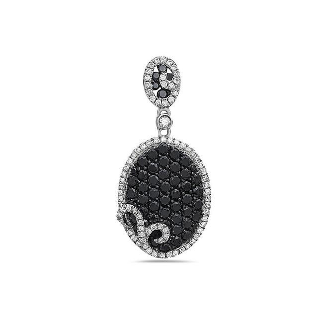 Item - 14k White Gold Oval Women's Pendant with 1.59ct Diamonds