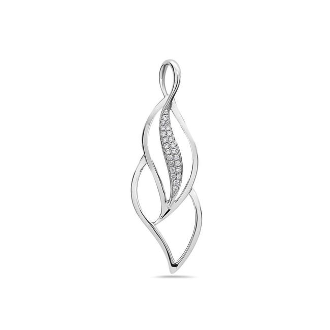 Item - 14k White Gold Floating Leafs Figure Women's Pendant with 0.20ct Diamo