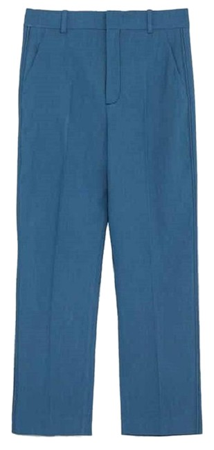 Zara Blue New Linen Trousers with Top Stitch Pants Size 4 (S, 27) Zara Blue New Linen Trousers with Top Stitch Pants Size 4 (S, 27) Image 1