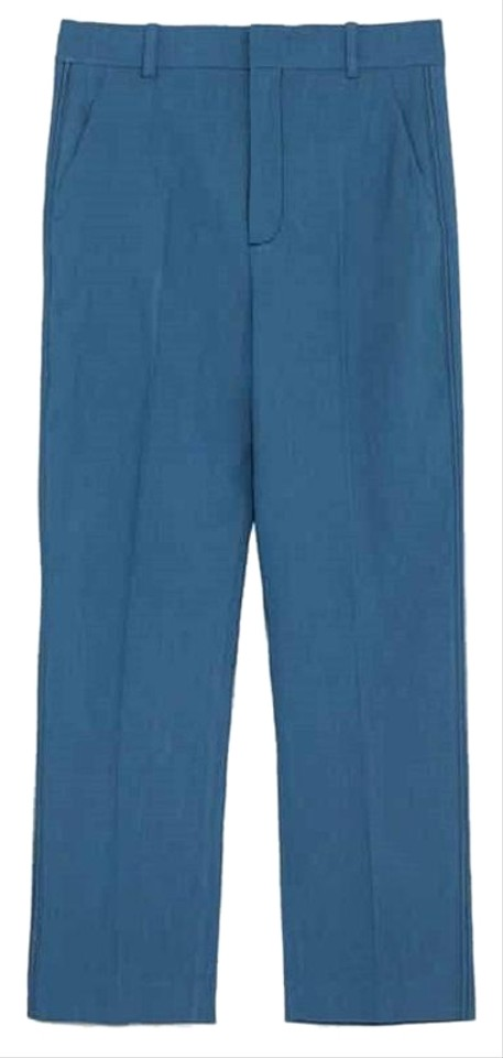 a3a82772 Zara Blue New Linen Trousers with Top Stitch S Pants Size 4 (S, 27 ...