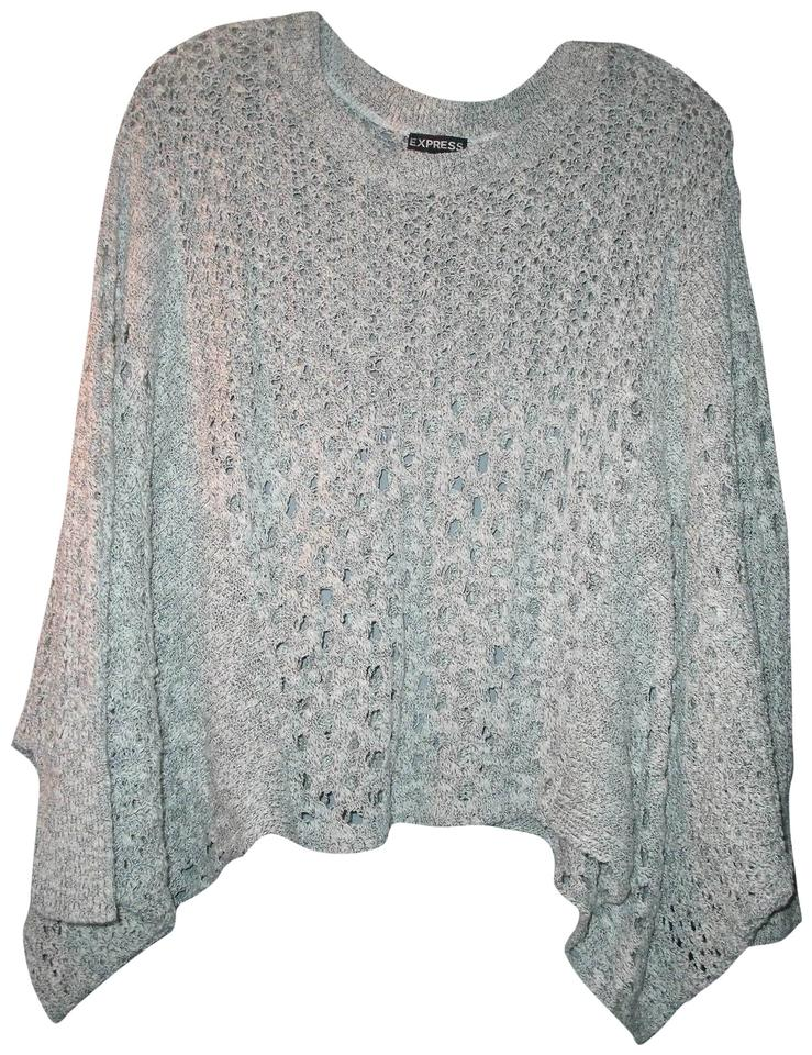 80e6093e331 Express Cropped Poncho Shawl Open Knit with Sleeves Light Gray ...