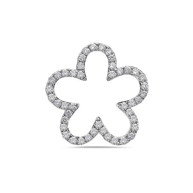 Item - 18k White Gold Floating Flower Women's Pendant with 0.64ct Diamonds