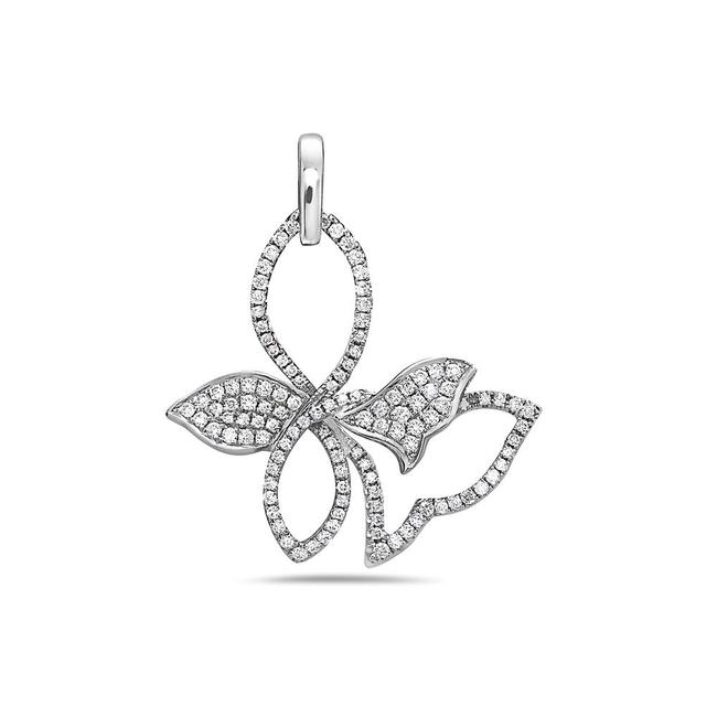 Item - 18k White Gold Tie Knot Women's Pendant with 0.74ct Diamonds